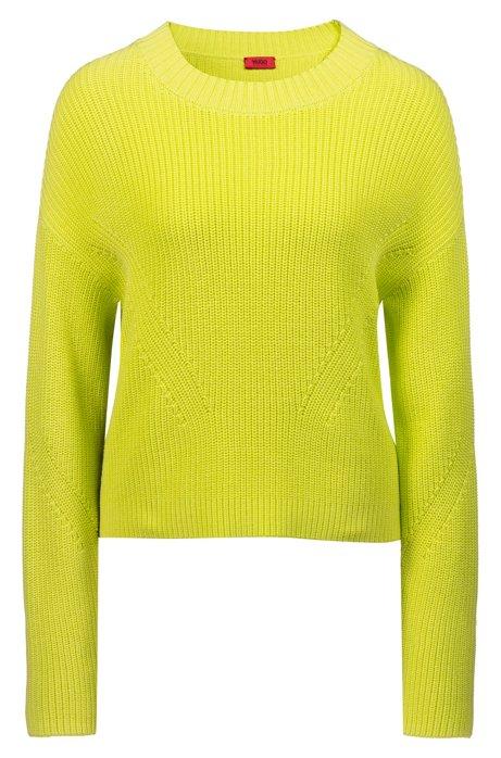 Relaxed-fit trui in een iets korter model met contrastband opzij, Geel
