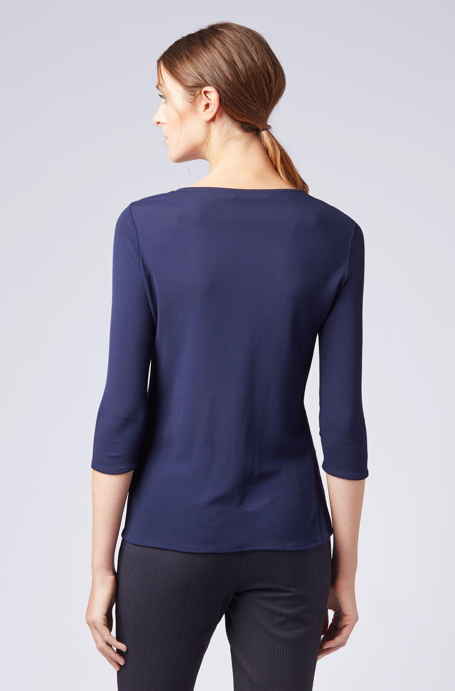 Keyhole-neckline top in crepe jersey, Dark Blue