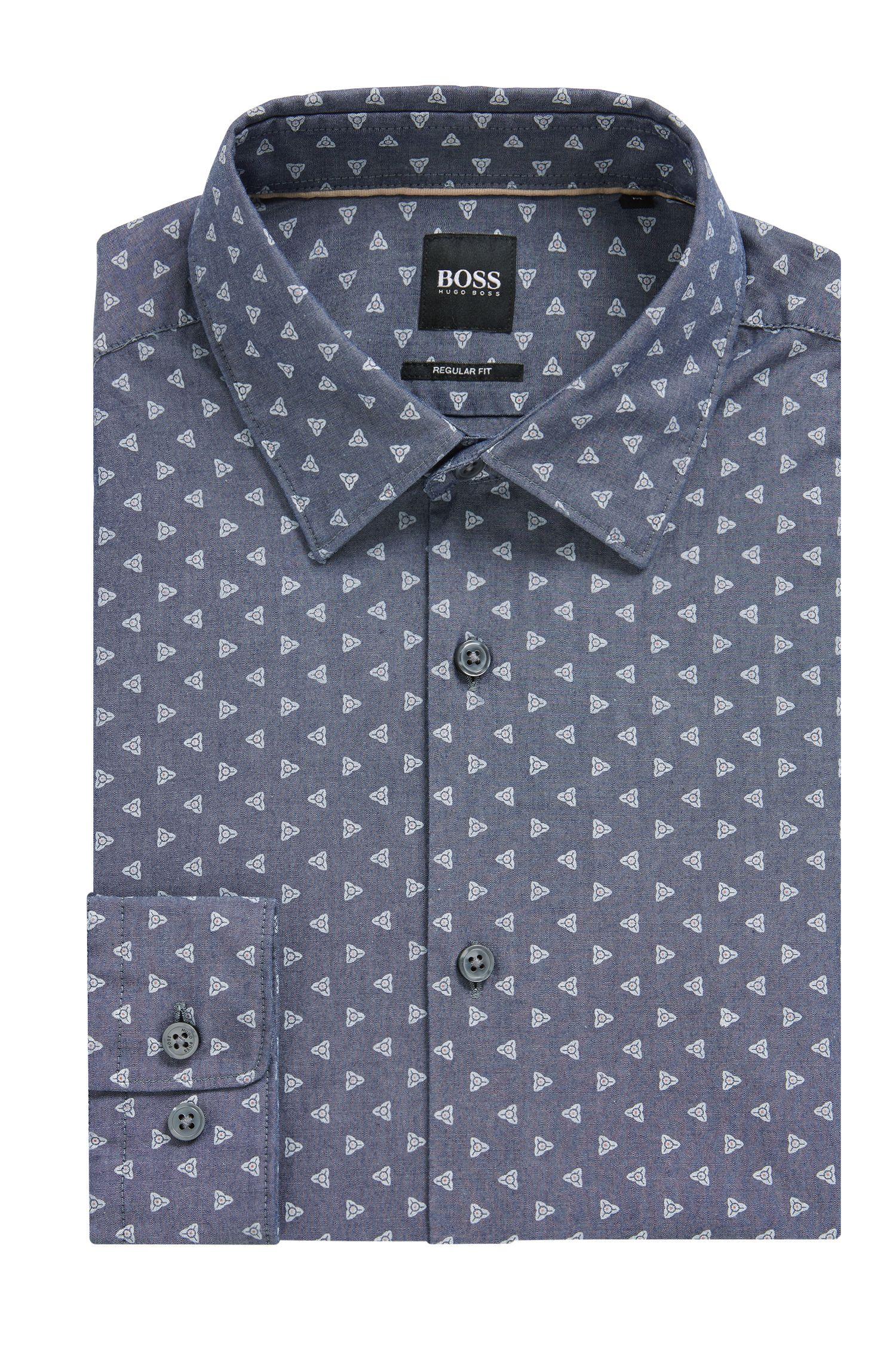 Regular-Fit Hemd aus Baumwolle mit Blumenprint und Denim-Optik, Dunkelblau