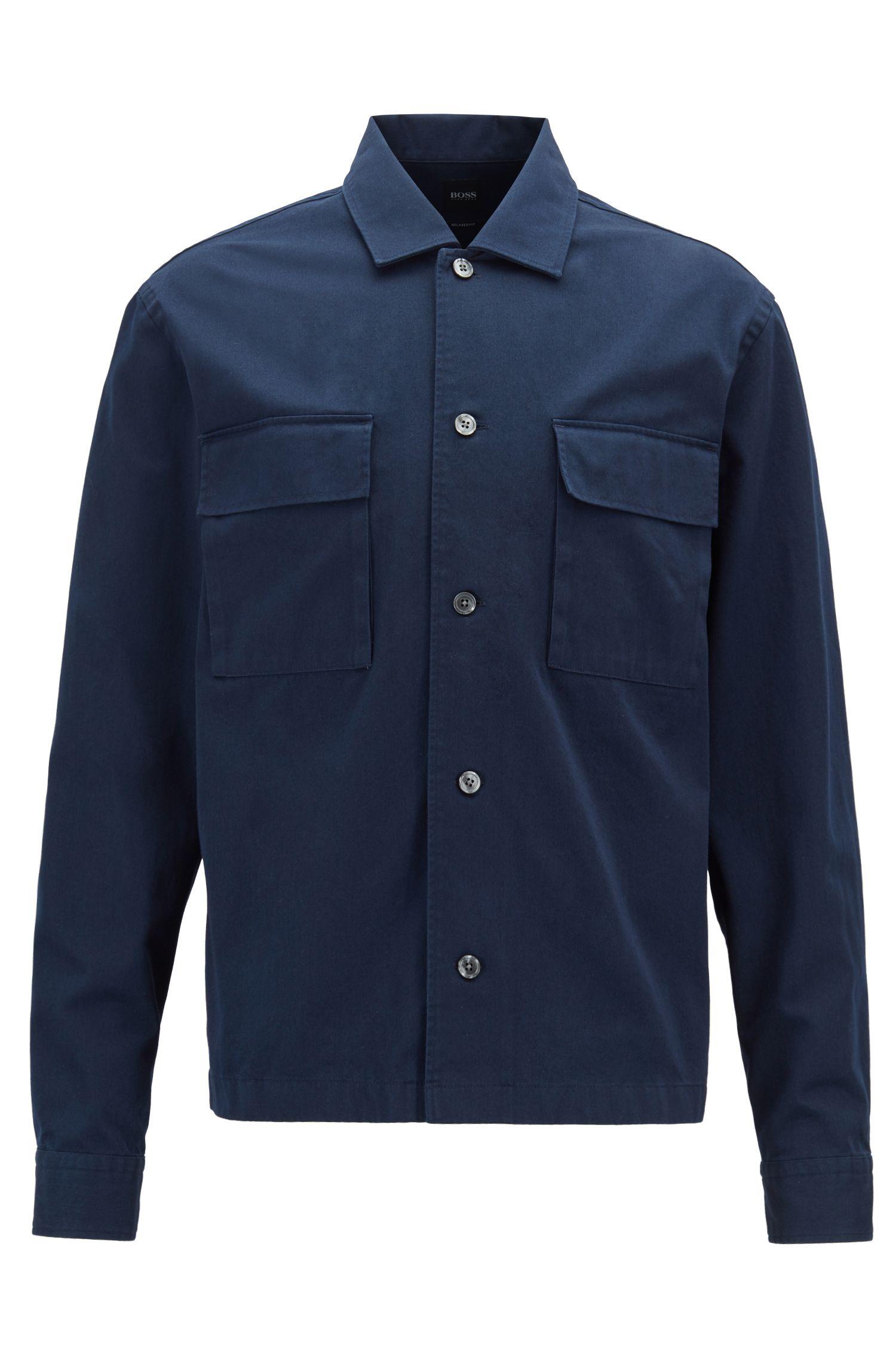 Camicia relaxed fit in twill di cotone pesante, Blu scuro