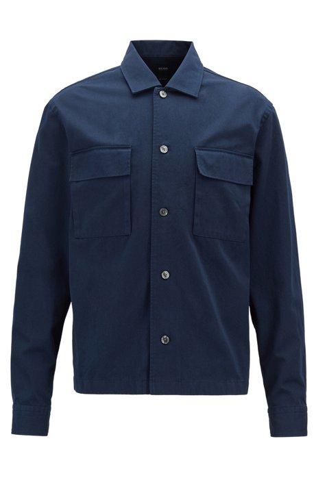 Camisa relaxed fit en sarga de algodón pesado, Azul oscuro