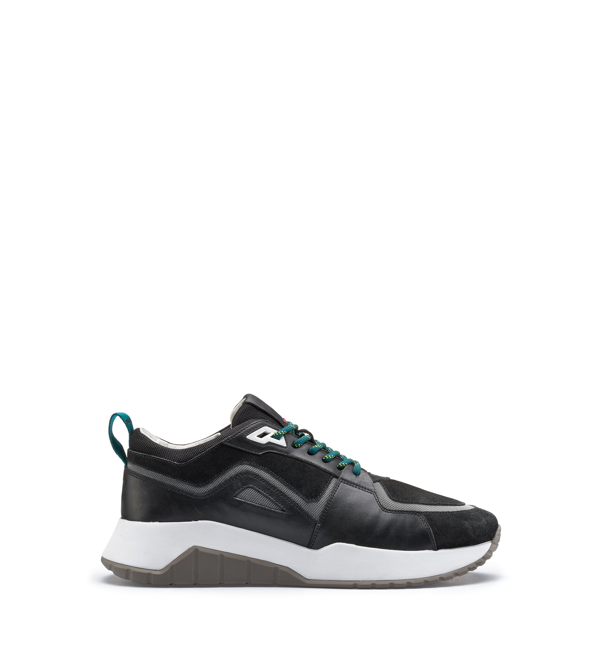 Bits & Bytes Capsule running trainers in leather and mesh, Negro