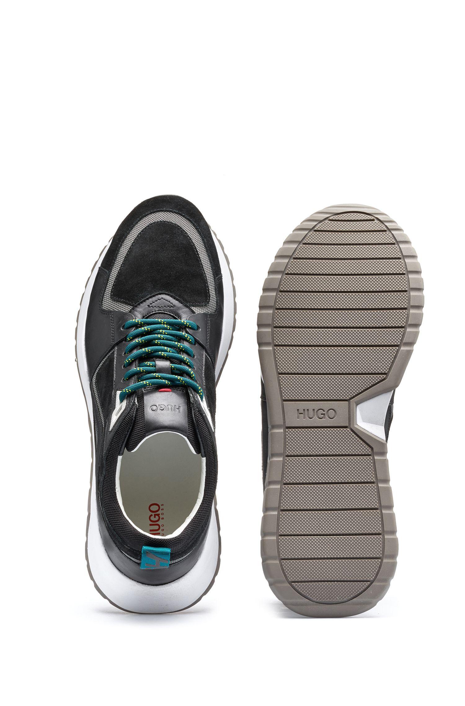 Sneakers aus Leder und Mesh aus der Bits&Bytes Capsule, Schwarz