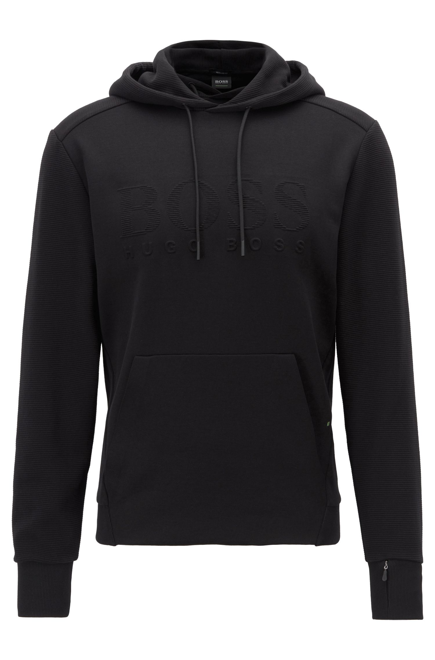 Hooded logo sweatshirt with zipped cuff pocket, Black