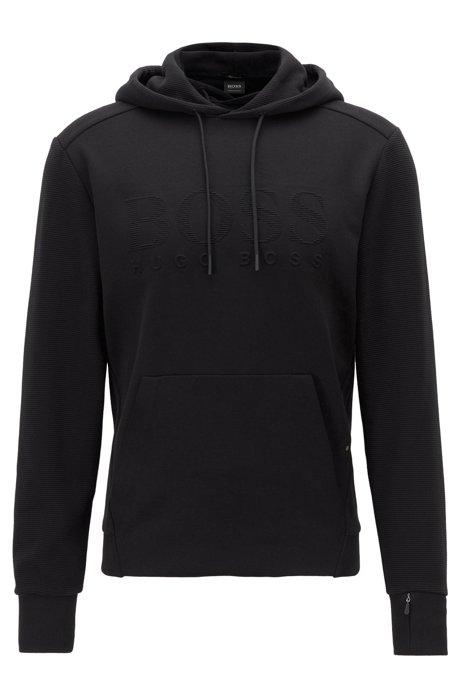 Kapuzen-Sweatshirt aus Stretch-Baumwolle mit Logo und Reißverschlusstasche am Ärmel, Schwarz