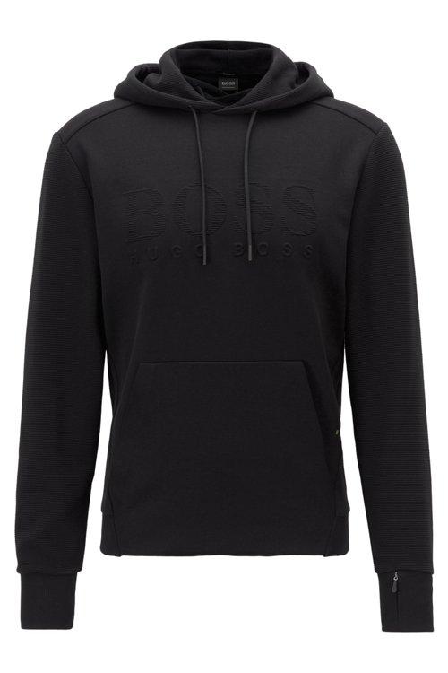 Hugo Boss - Kapuzen-Sweatshirt aus Stretch-Baumwolle mit Logo und Reißverschlusstasche am Ärmel - 1