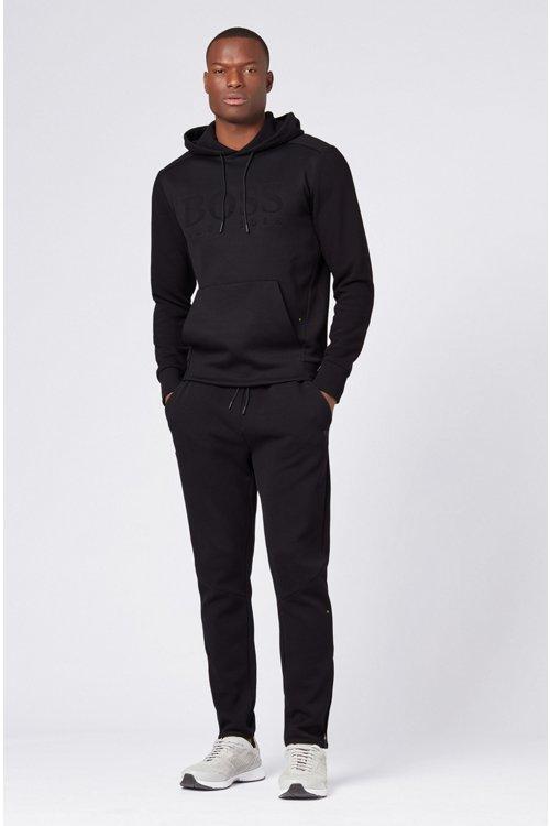 Hugo Boss - Kapuzen-Sweatshirt aus Stretch-Baumwolle mit Logo und Reißverschlusstasche am Ärmel - 2