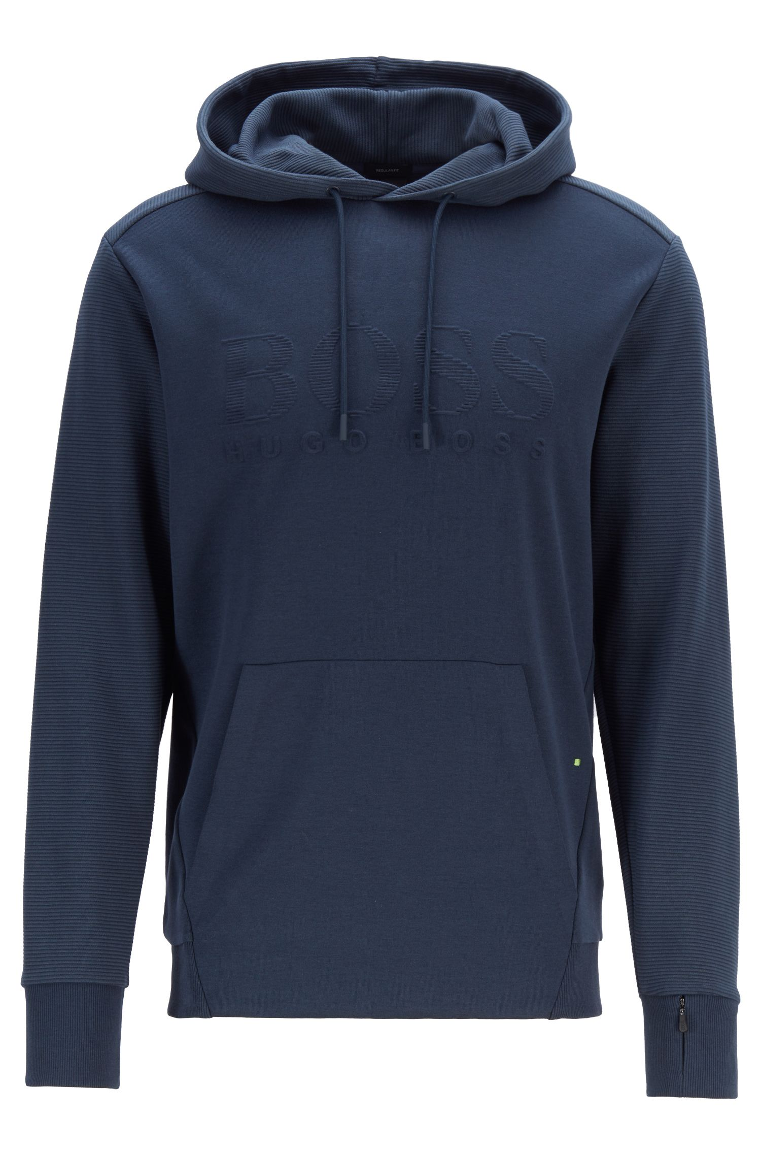 Hooded logo sweatshirt with zipped cuff pocket, Dark Blue