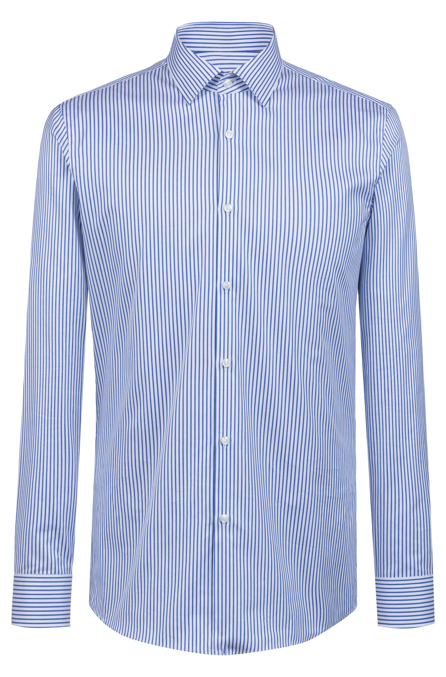 Slim-fit shirt in two-ply cotton, Patterned