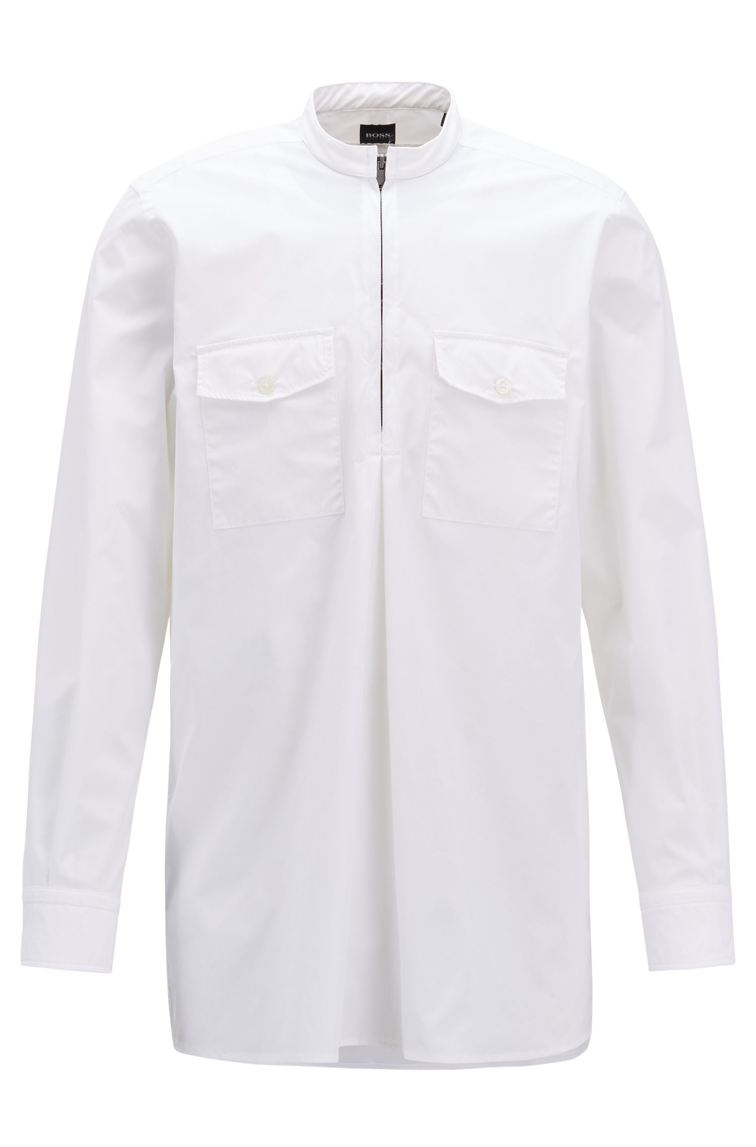Chemise Relaxed Fit avec demi-fermeture éclair, Blanc