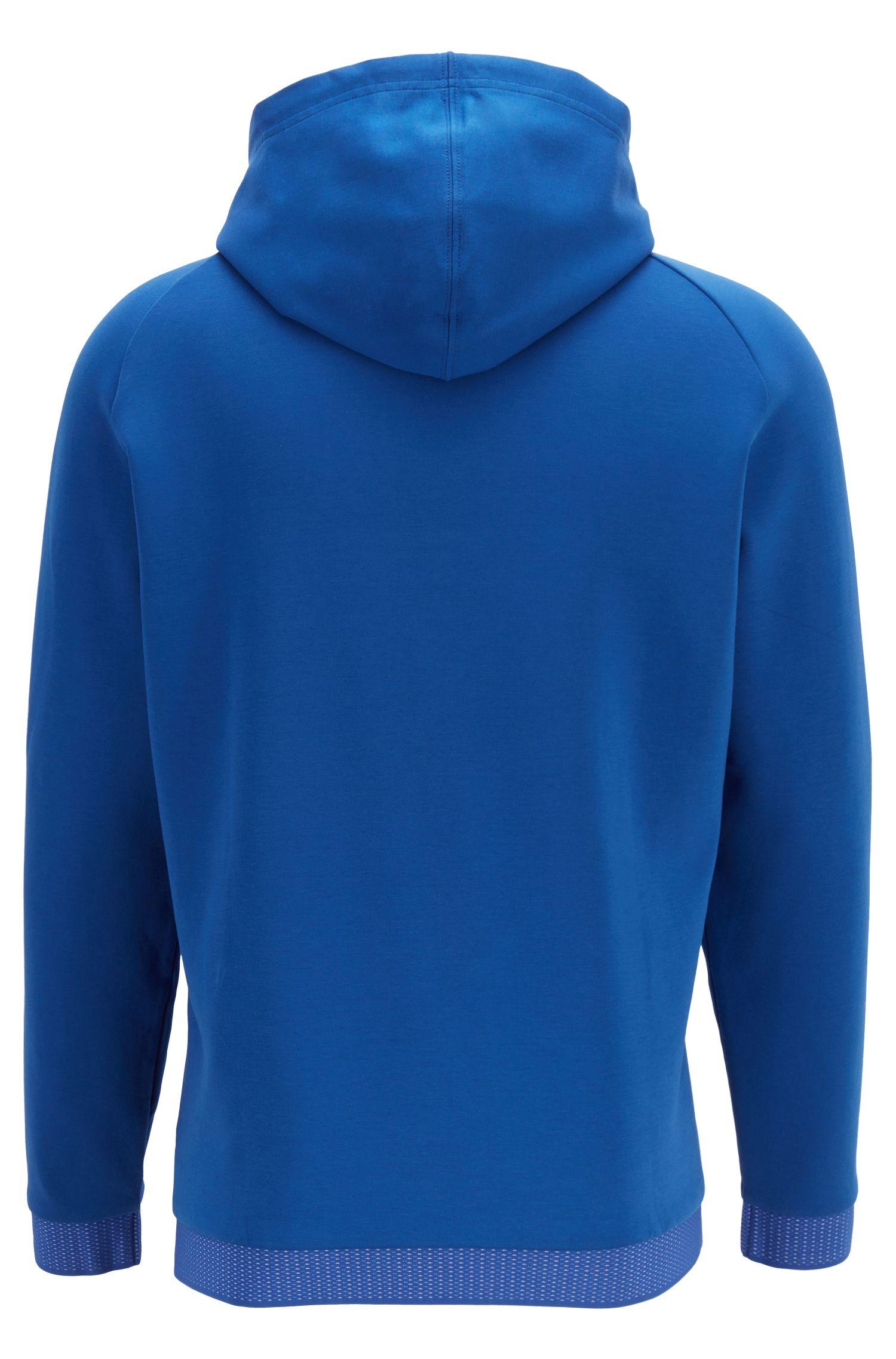 Kapuzen-Sweatshirt aus Baumwoll-Mix mit Reißverschluss, Blau