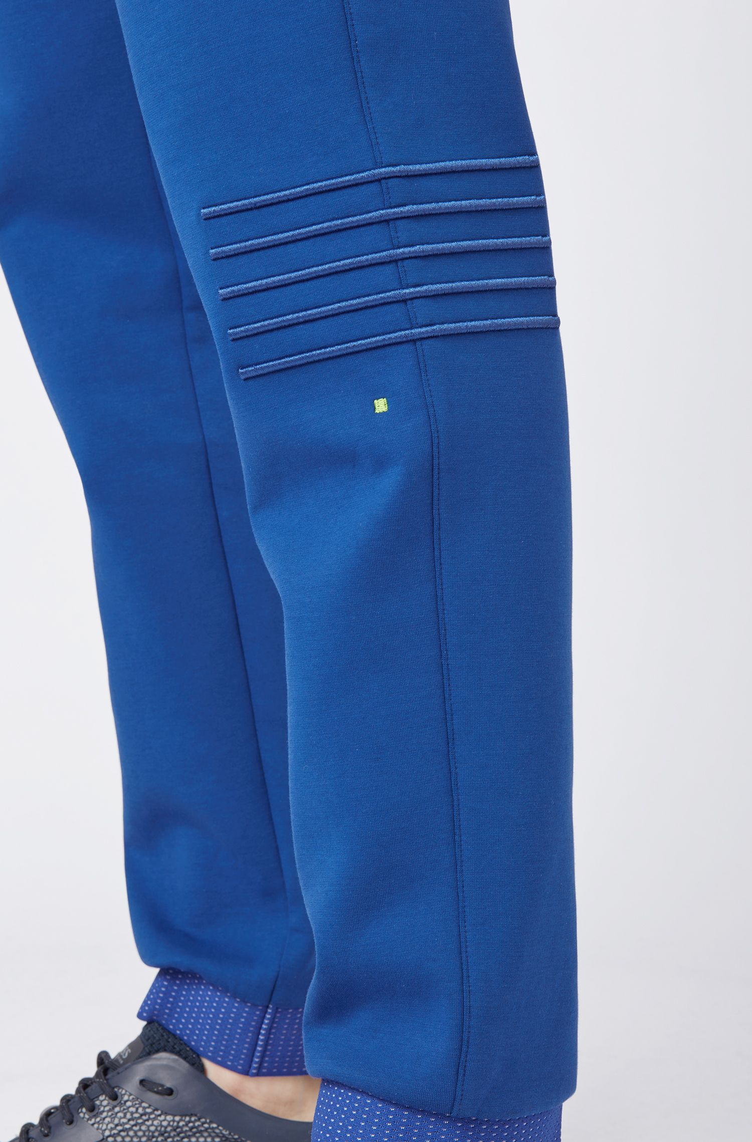 Regular-fit jersey trousers with stripe embroidery, Blue