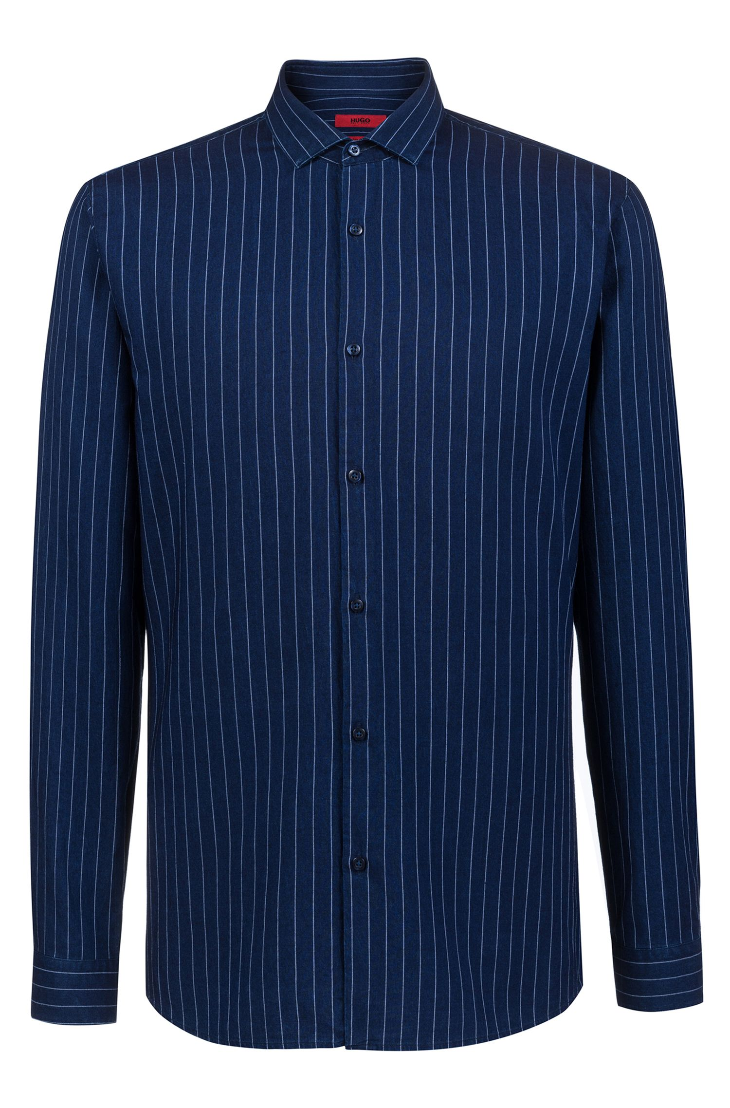 Camicia extra slim fit in denim gessato realizzato in Italia, Blu scuro