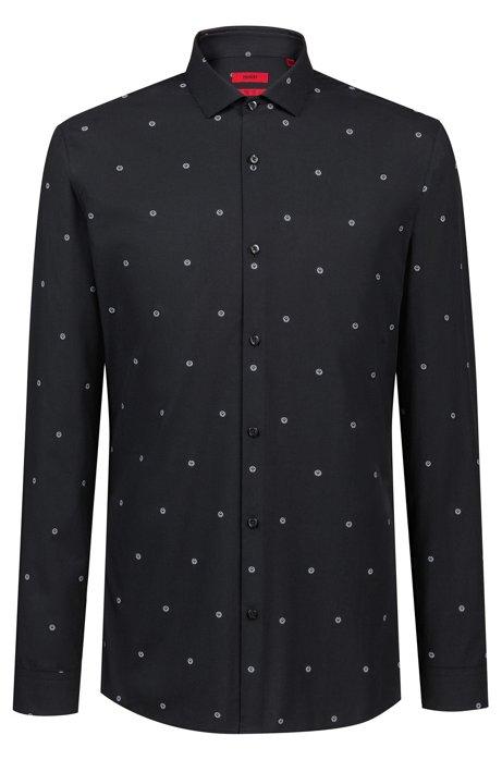 Camisa extra slim fit en jacquard de algodón, Fantasía