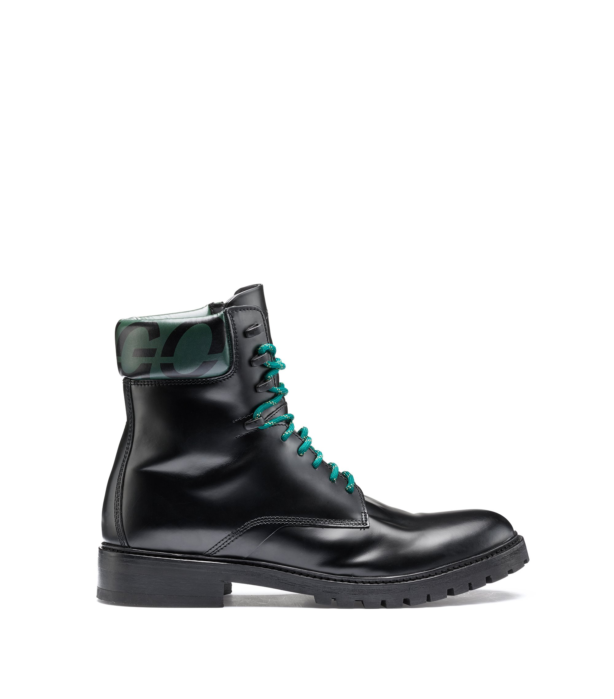 Bits & Bytes Capsule brush-off leather boots with logo, Negro
