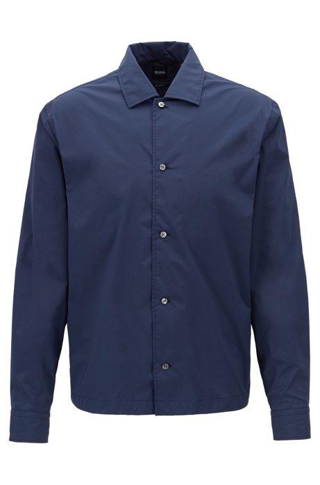 Chemise Relaxed Fit en tissu stretch, à col ouvert, Bleu foncé