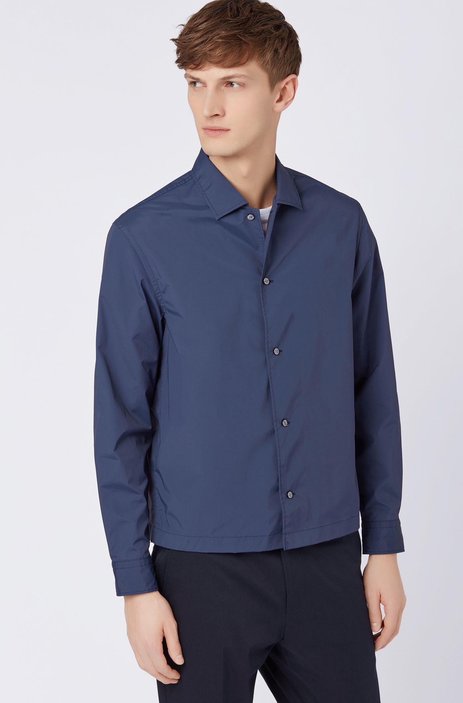 Camisa relaxed fit en tejido elástico con cuello cubano, Azul oscuro