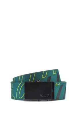 Ceinture en toile de coton à logo de la collection capsule Bits & Bytes, Vert sombre