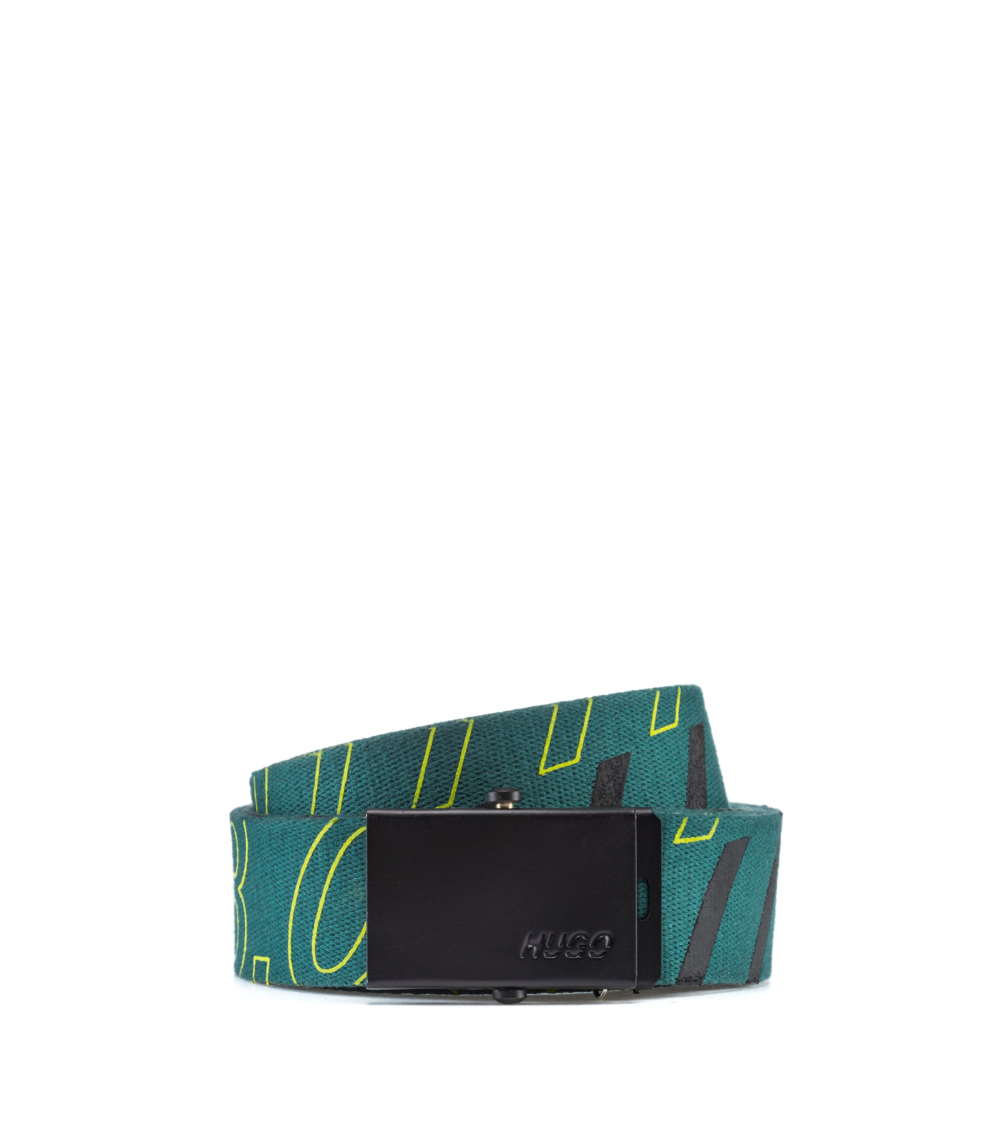 Bits & Bytes Capsule webbing cotton belt with logo, Vert sombre