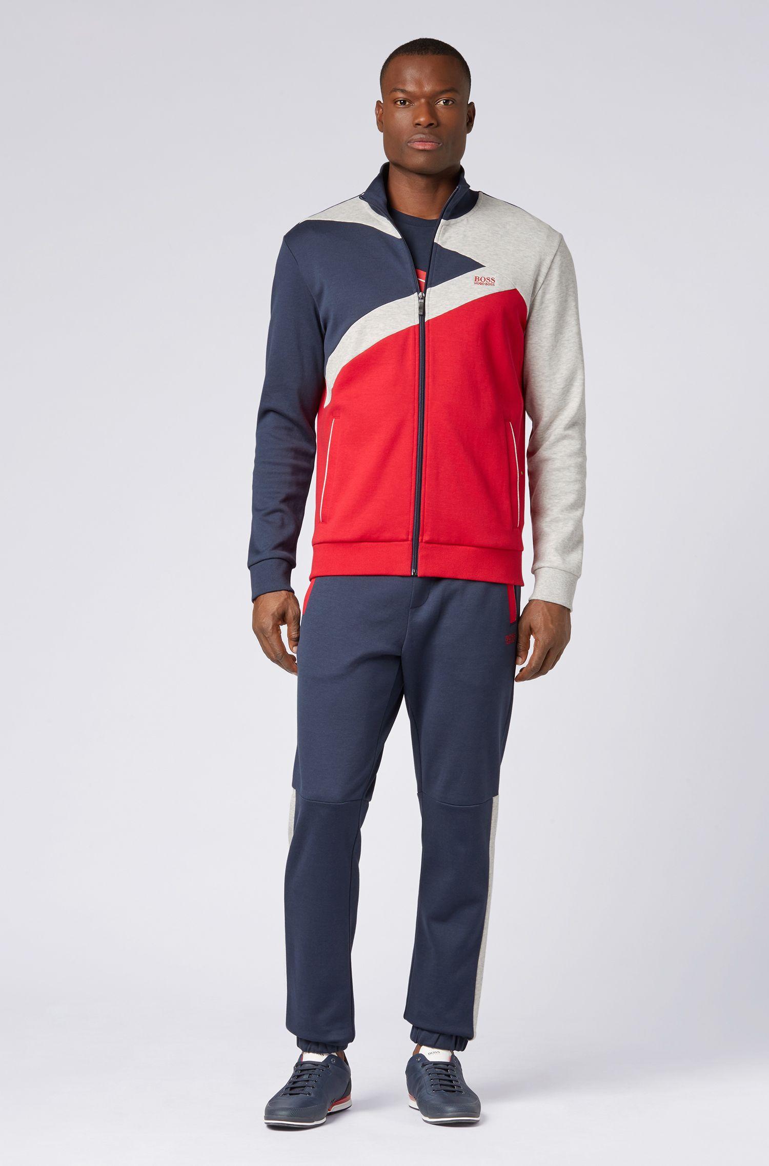 Regular-fit tracksuit jacket with colour-block detailing, Dark Blue