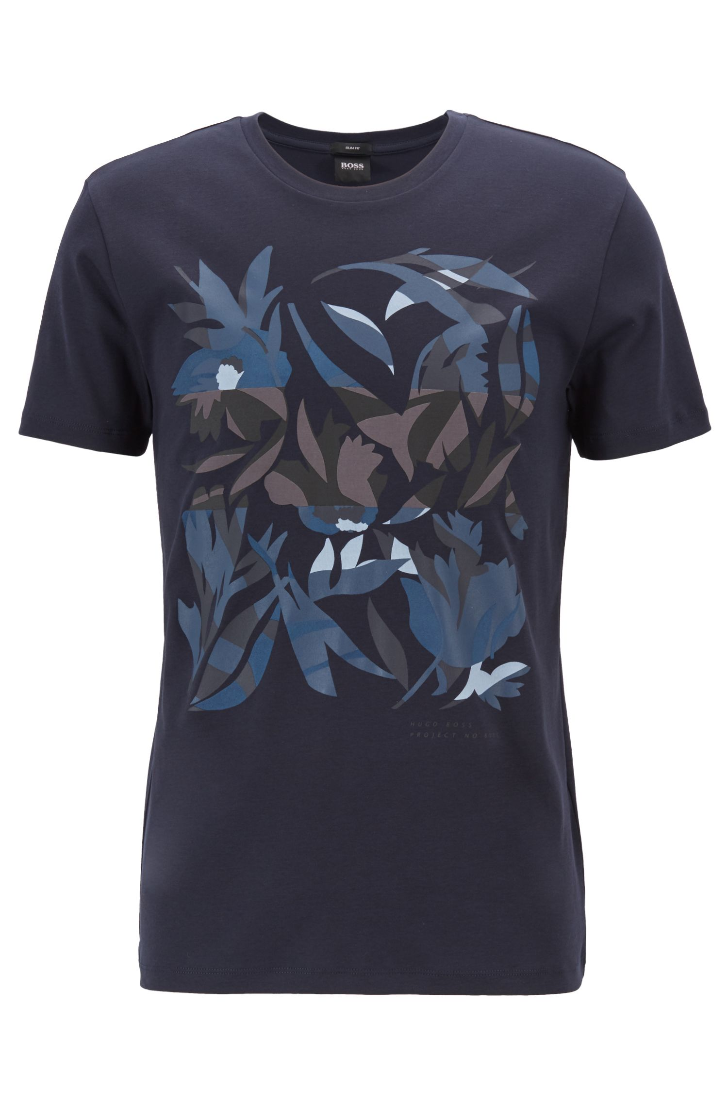 Camiseta slim fit de algodón con estampado 3D, Azul oscuro