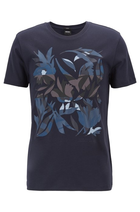 95cbcdce6 BOSS - Slim-fit T-shirt in cotton with 3D-effect print