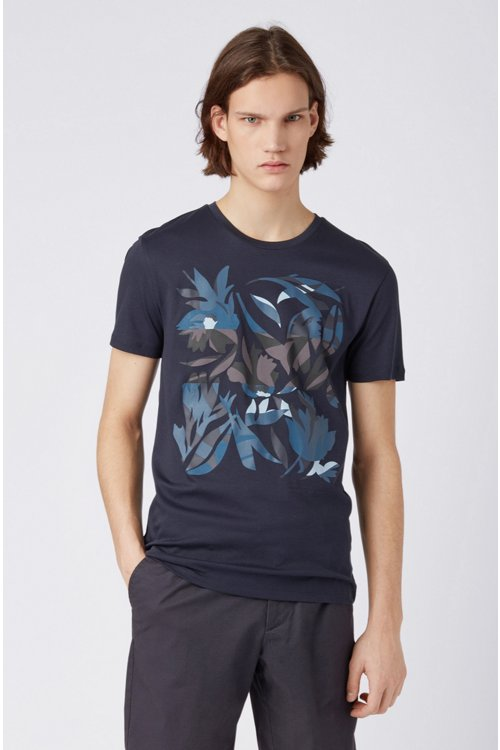 Hugo Boss - Camiseta slim fit de algodón con estampado 3D - 4