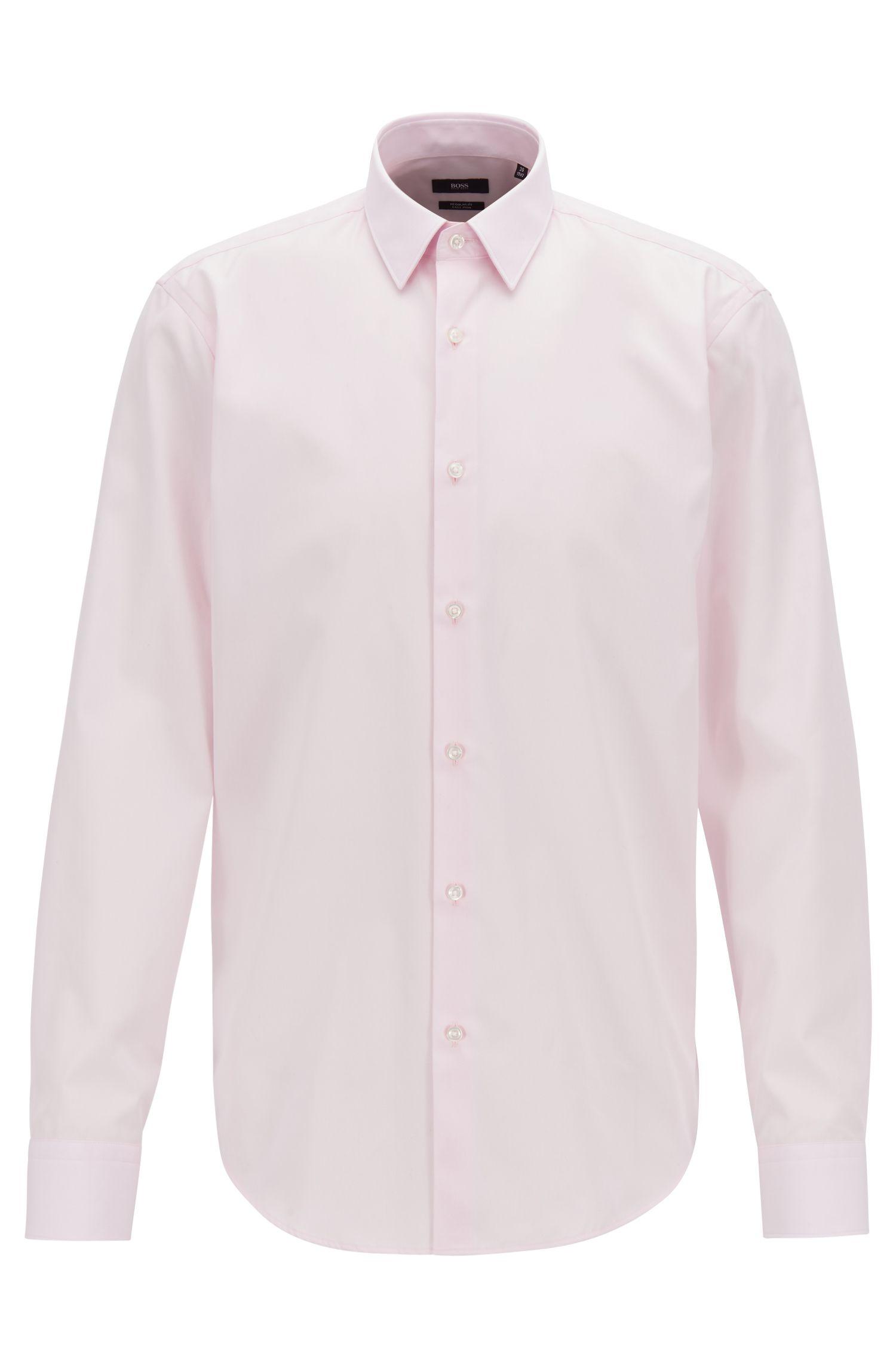 Regular-fit overhemd in een popeline van gemakkelijk te strijken katoen, Lichtroze