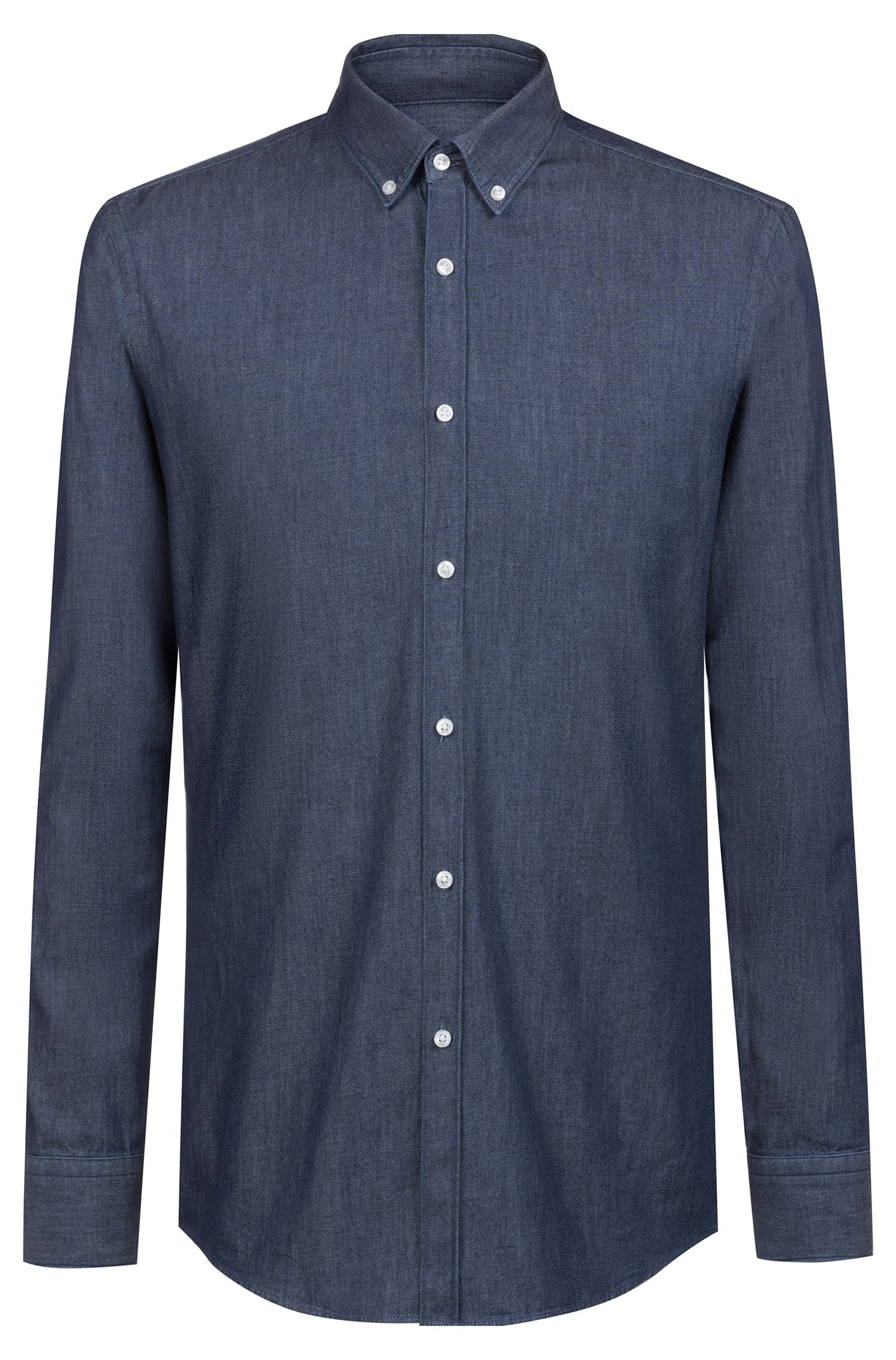 Slim-fit shirt in denim-effect cotton twill, Dark Blue