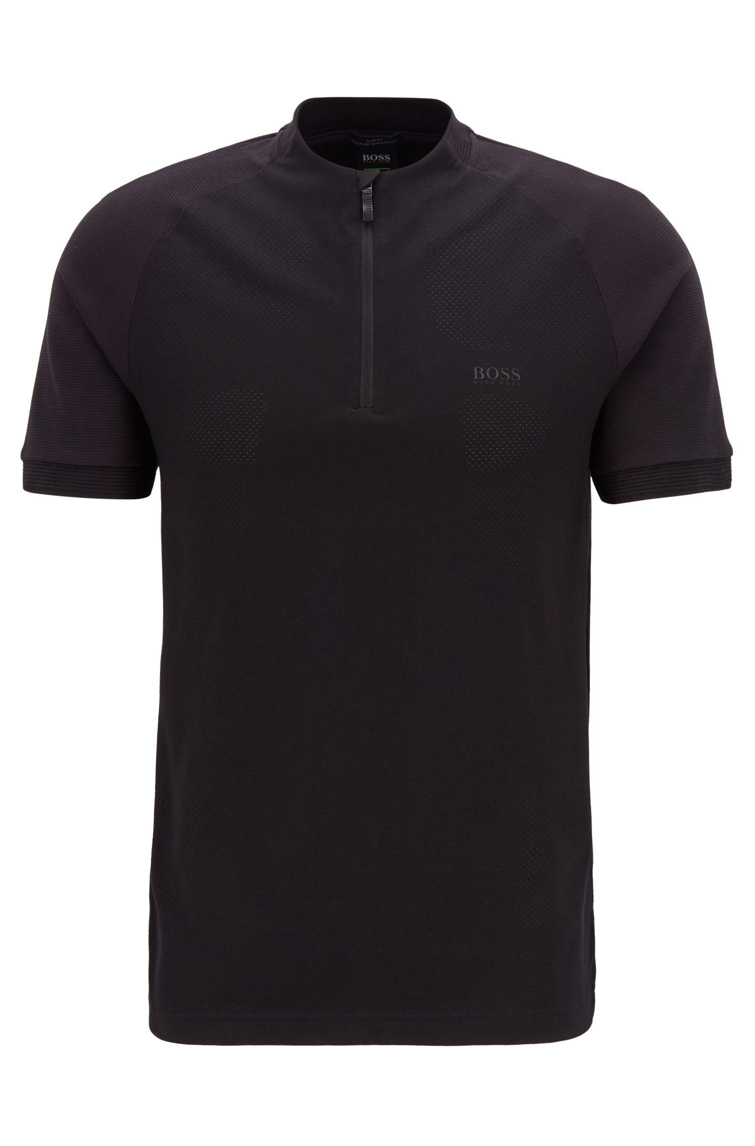 Polo Slim Fit à encolure zippée, avec la fibre S.Café®, Noir