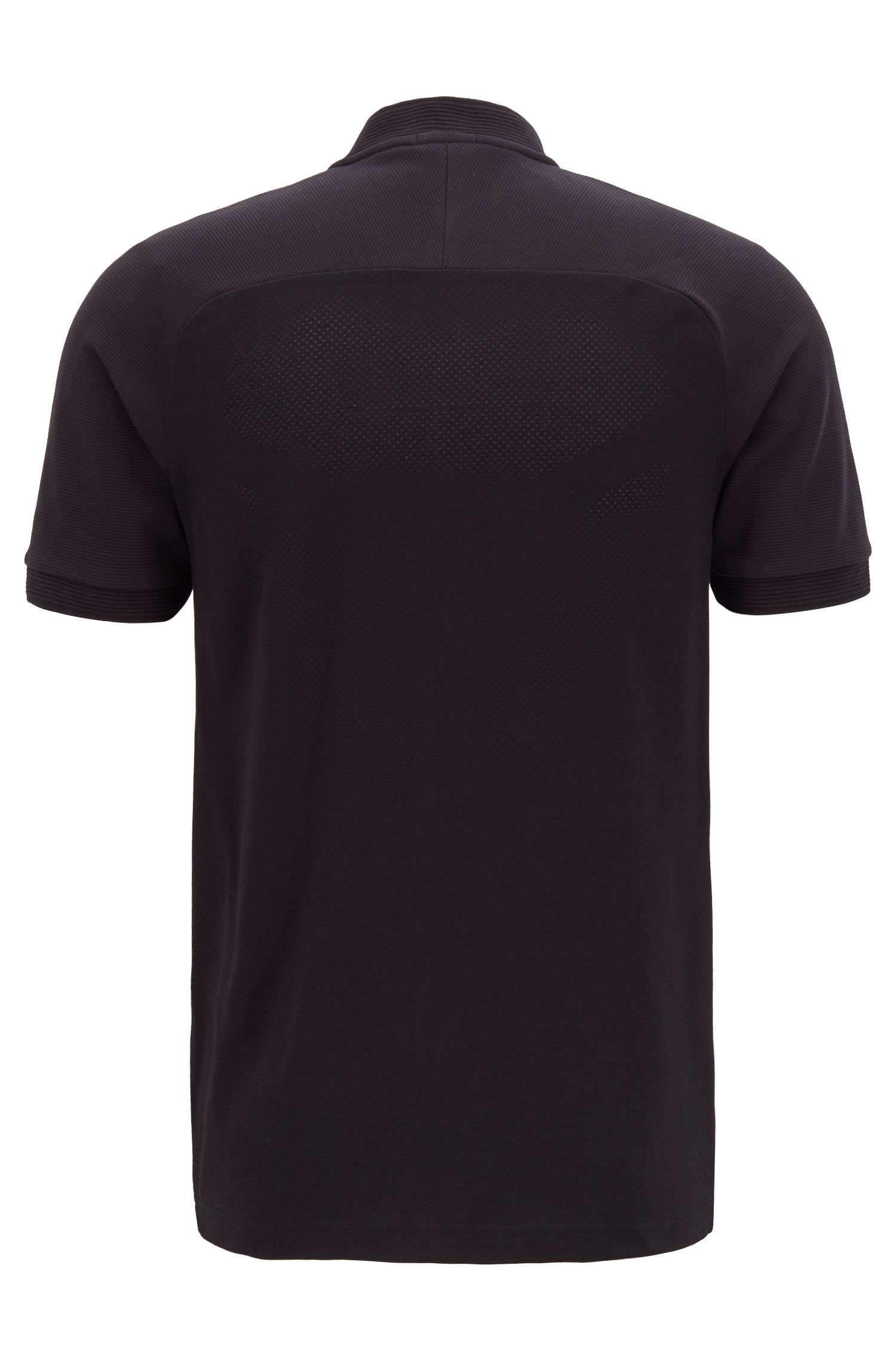 Slim-Fit Poloshirt mit Reißverschluss am Kragen und S.Café®-Fasern, Schwarz