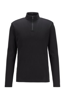 Slim-fit ribbed T-shirt with long sleeves and zip neck, Black