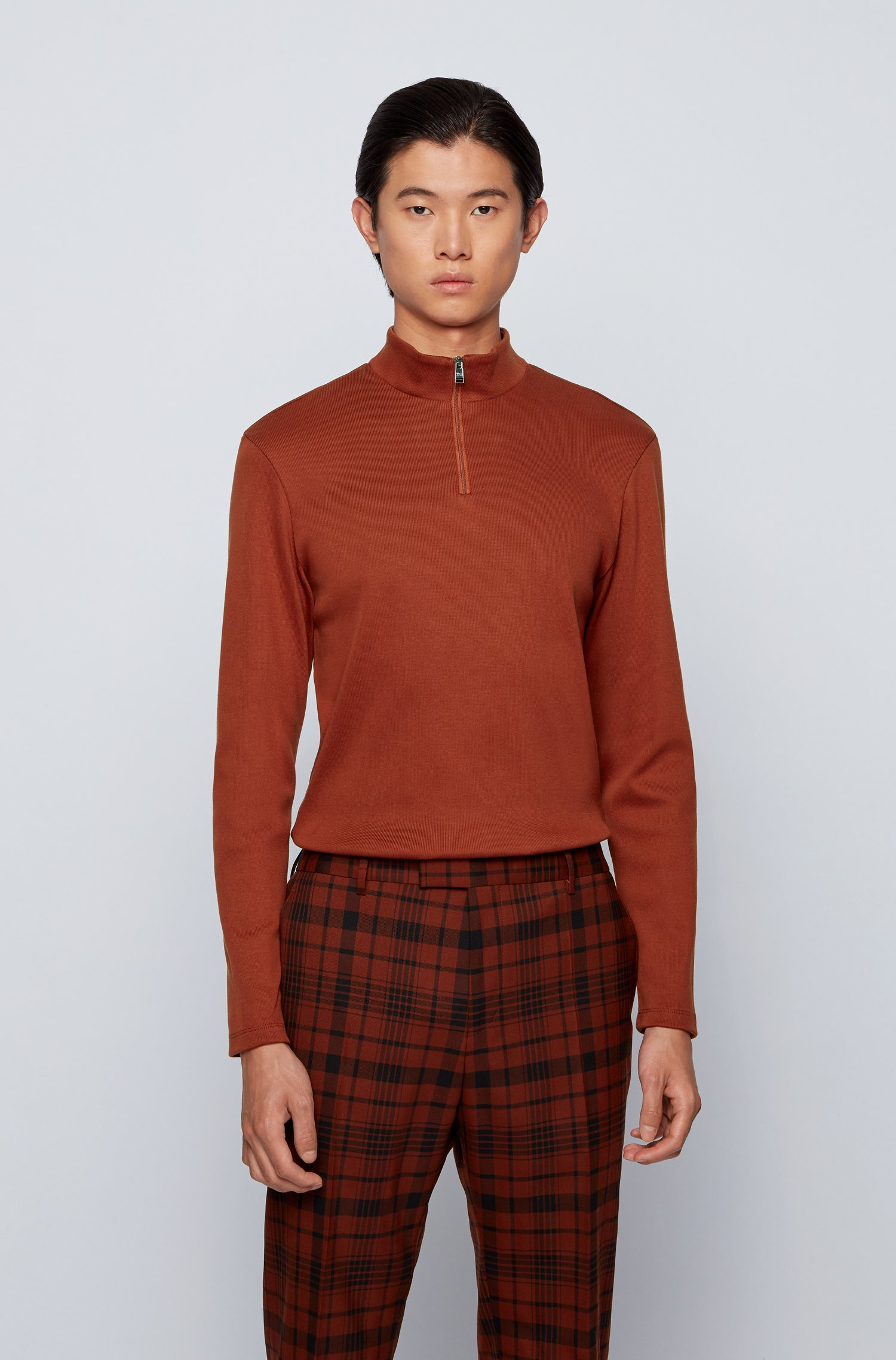 Slim-fit ribbed T-shirt with long sleeves and zip neck, Brown