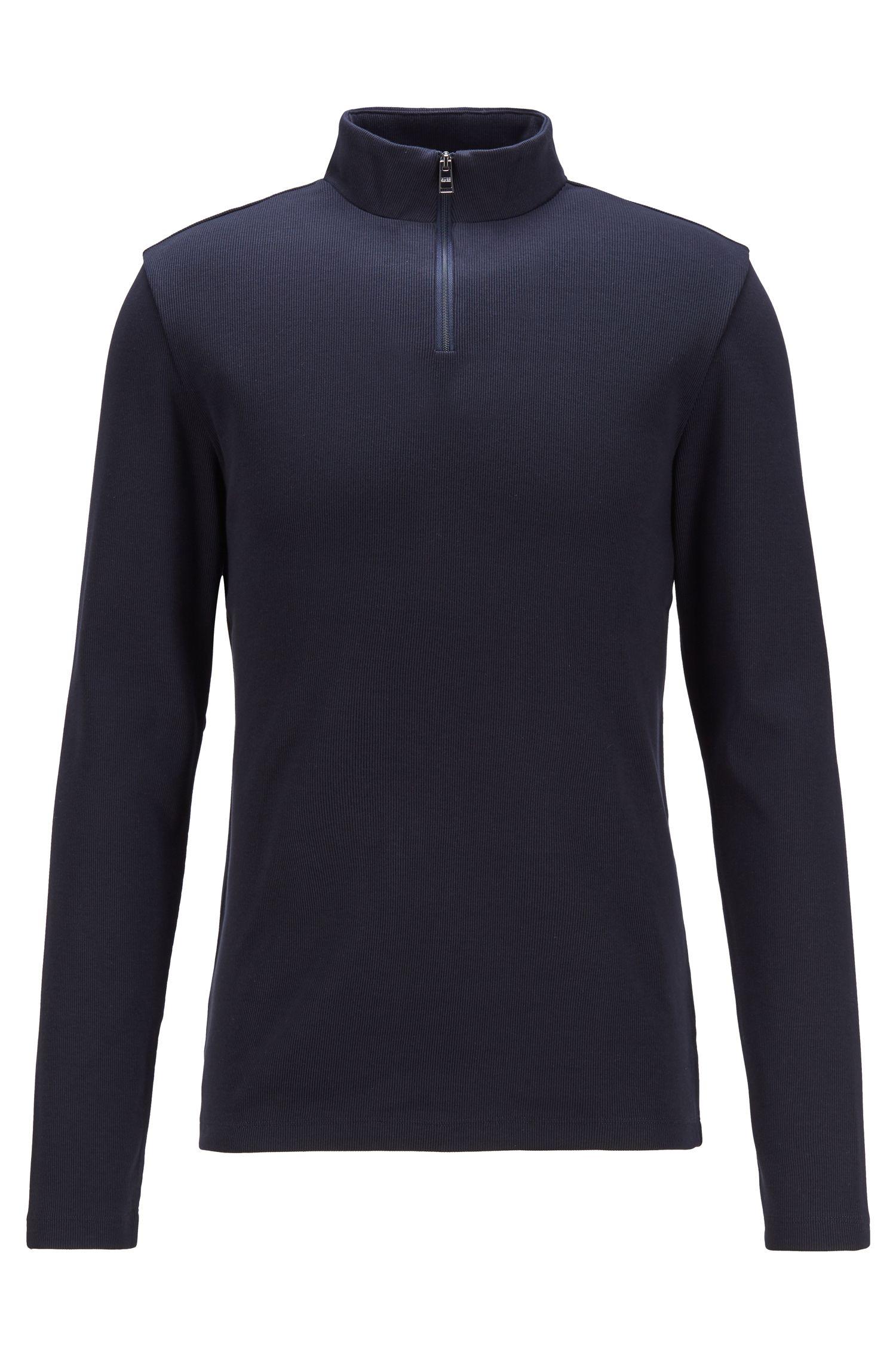 T-shirt Slim Fit côtelé à col zippé et manches longues, Bleu foncé
