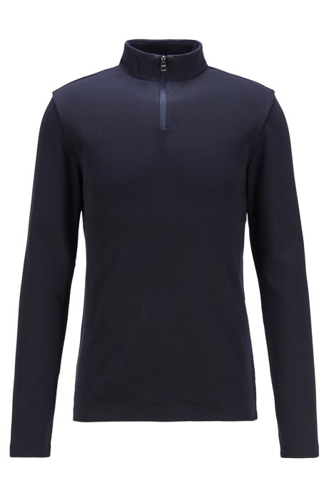 Camiseta slim fit de canalé con manga larga y cuello con cremallera, Azul oscuro