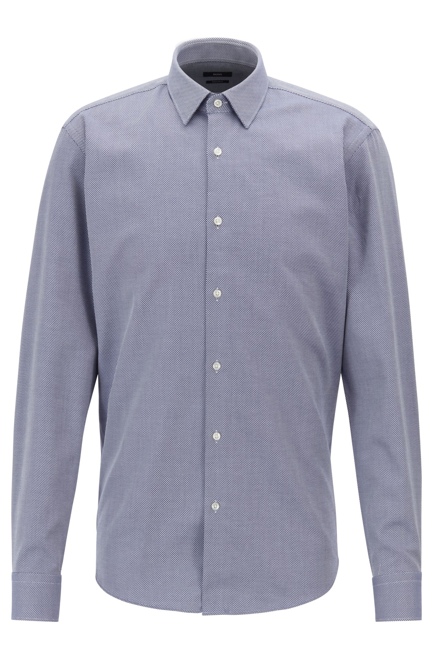Camisa regular fit de algodón de tejido dobby con textura, Azul oscuro