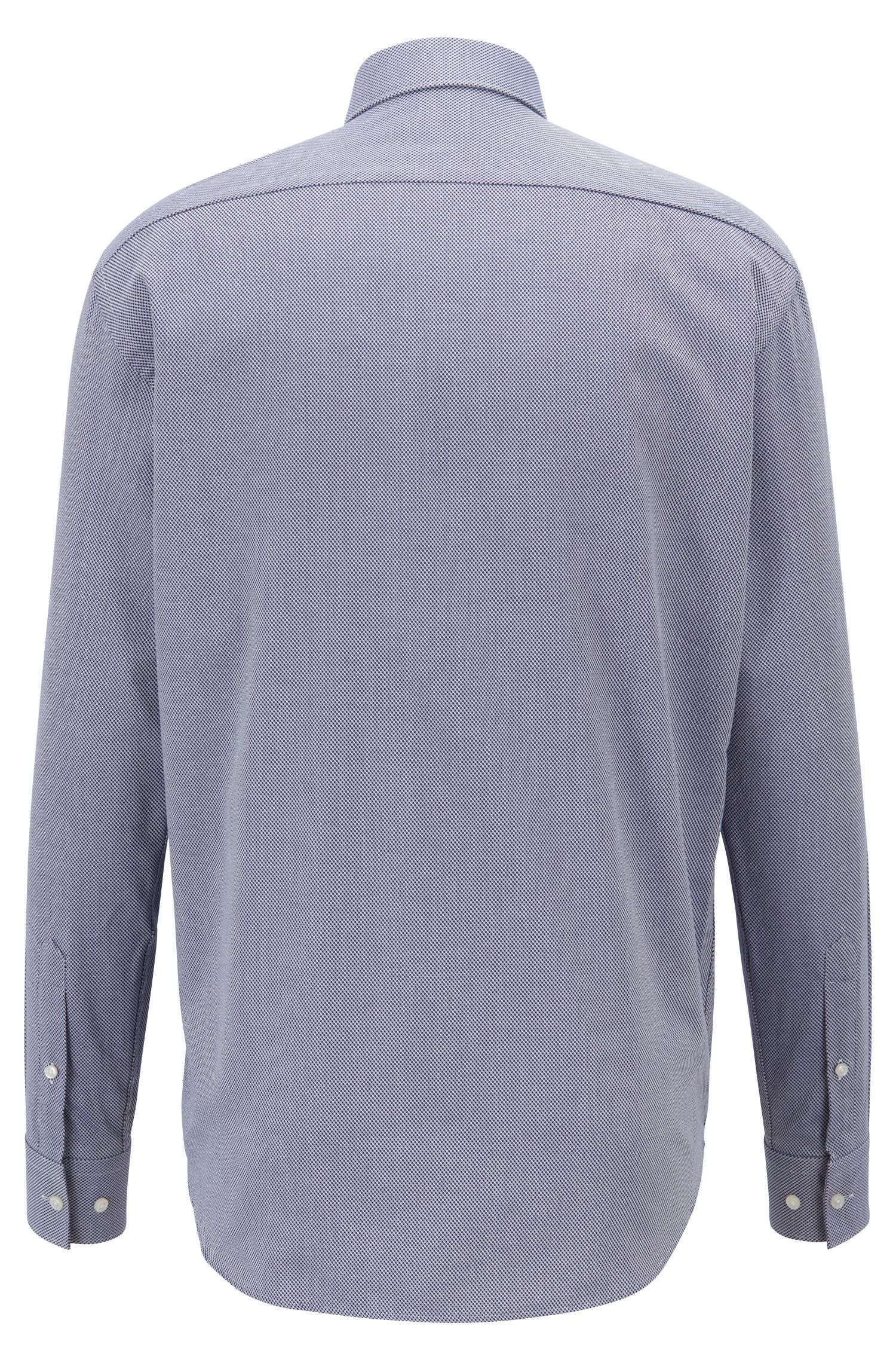 Regular-fit overhemd van gestructureerde dobby-katoen, Donkerblauw