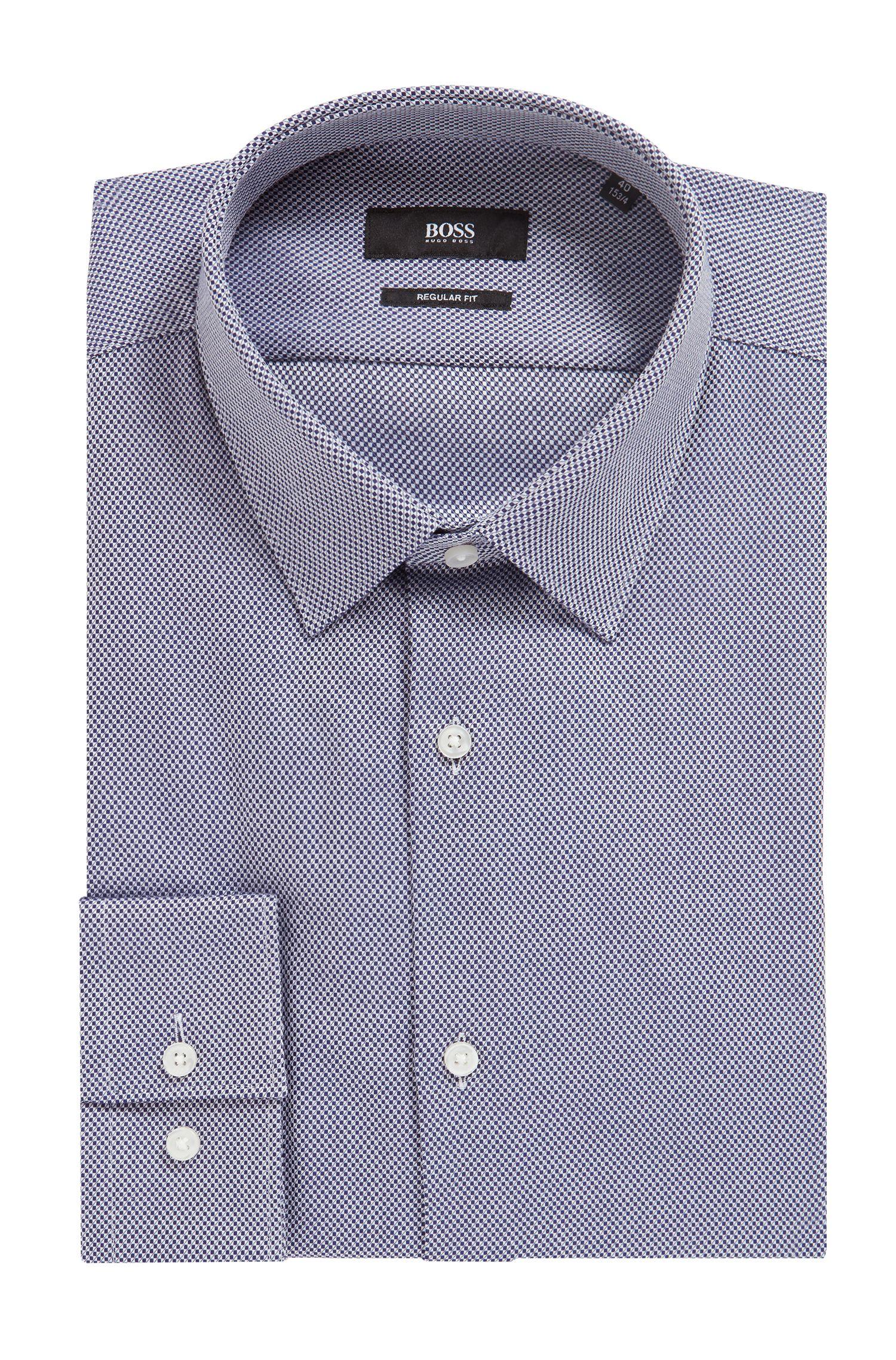 Camicia regular fit in cotone dobby strutturato, Blu scuro