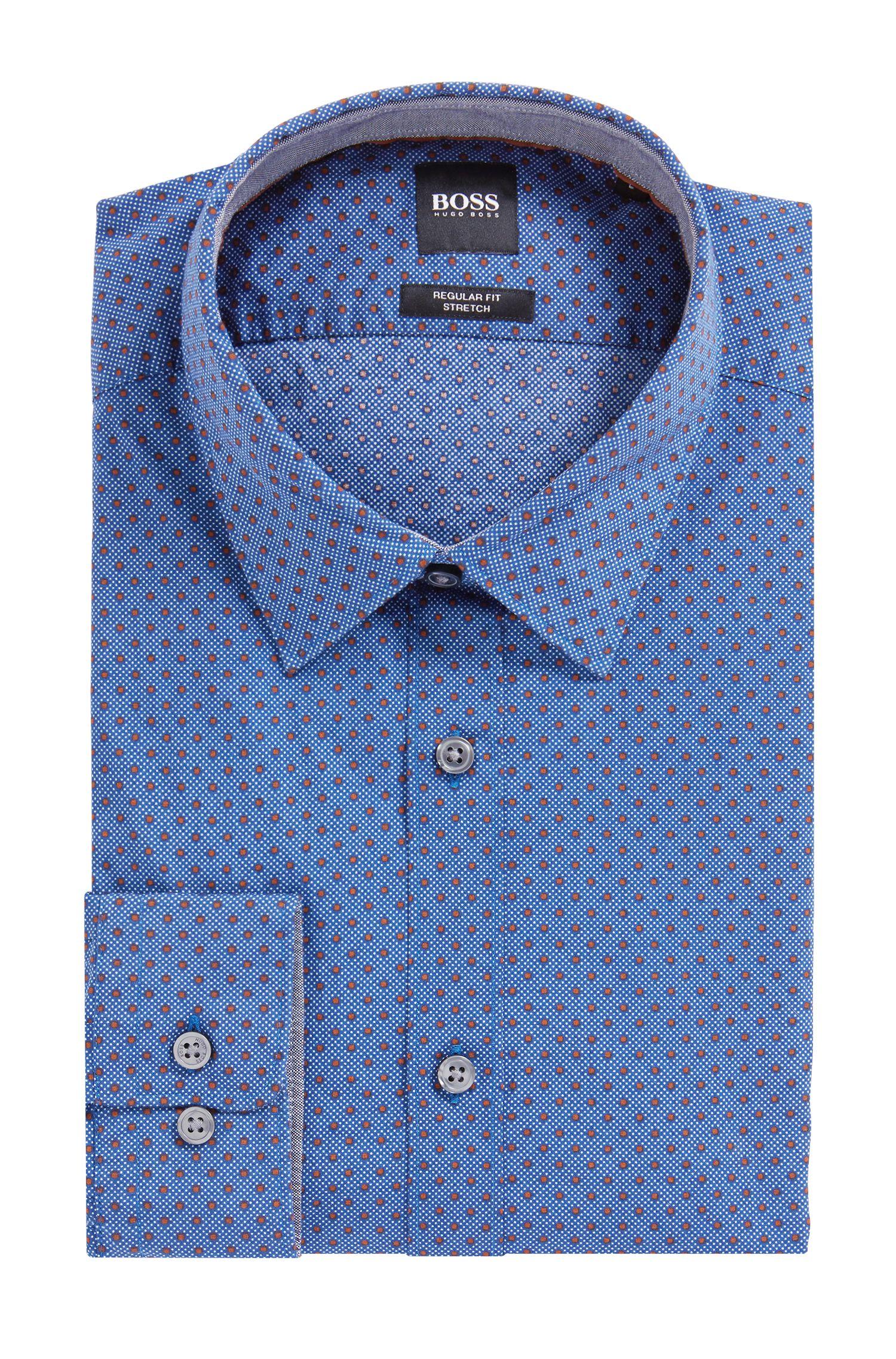 Regular-fit shirt in polka-dot-print stretch cotton, Dark Blue
