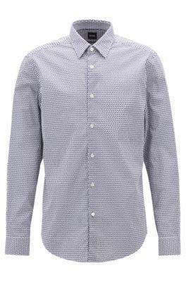 Regular-fit overhemd van gestructureerde stretchkatoen met geometrische print, Donkerblauw