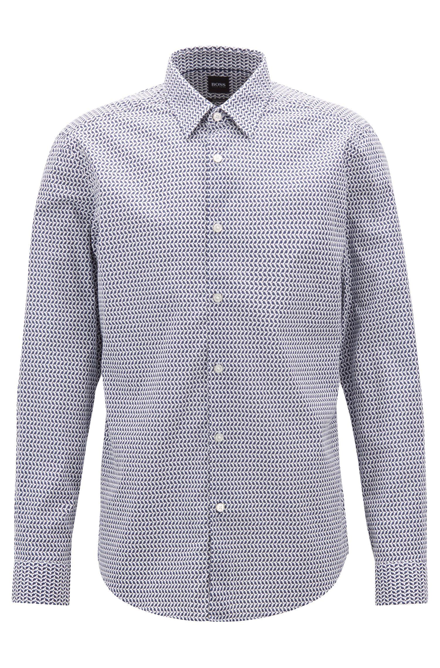 Camisa regular fit con estampado geométrico en algodón elástico con textura, Azul oscuro