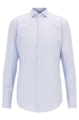 Cotton-twill slim-fit shirt with micro pattern, Light Blue