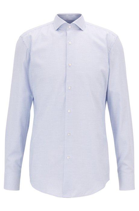 Slim-fit overhemd in een katoentwill met microdessin, Lichtblauw