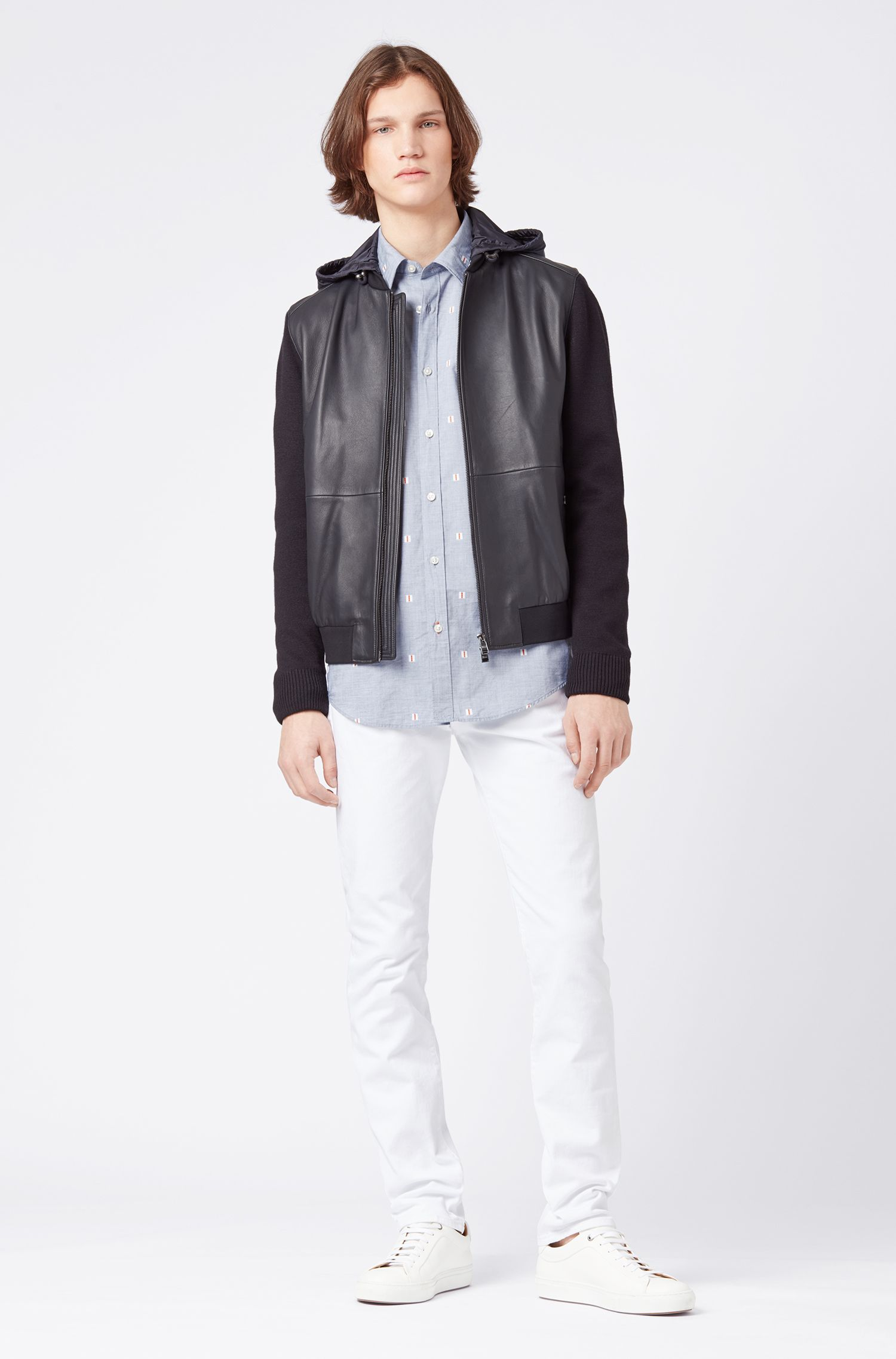 Regular-fit overhemd van katoen in fil-coupé met dessin, Donkerblauw