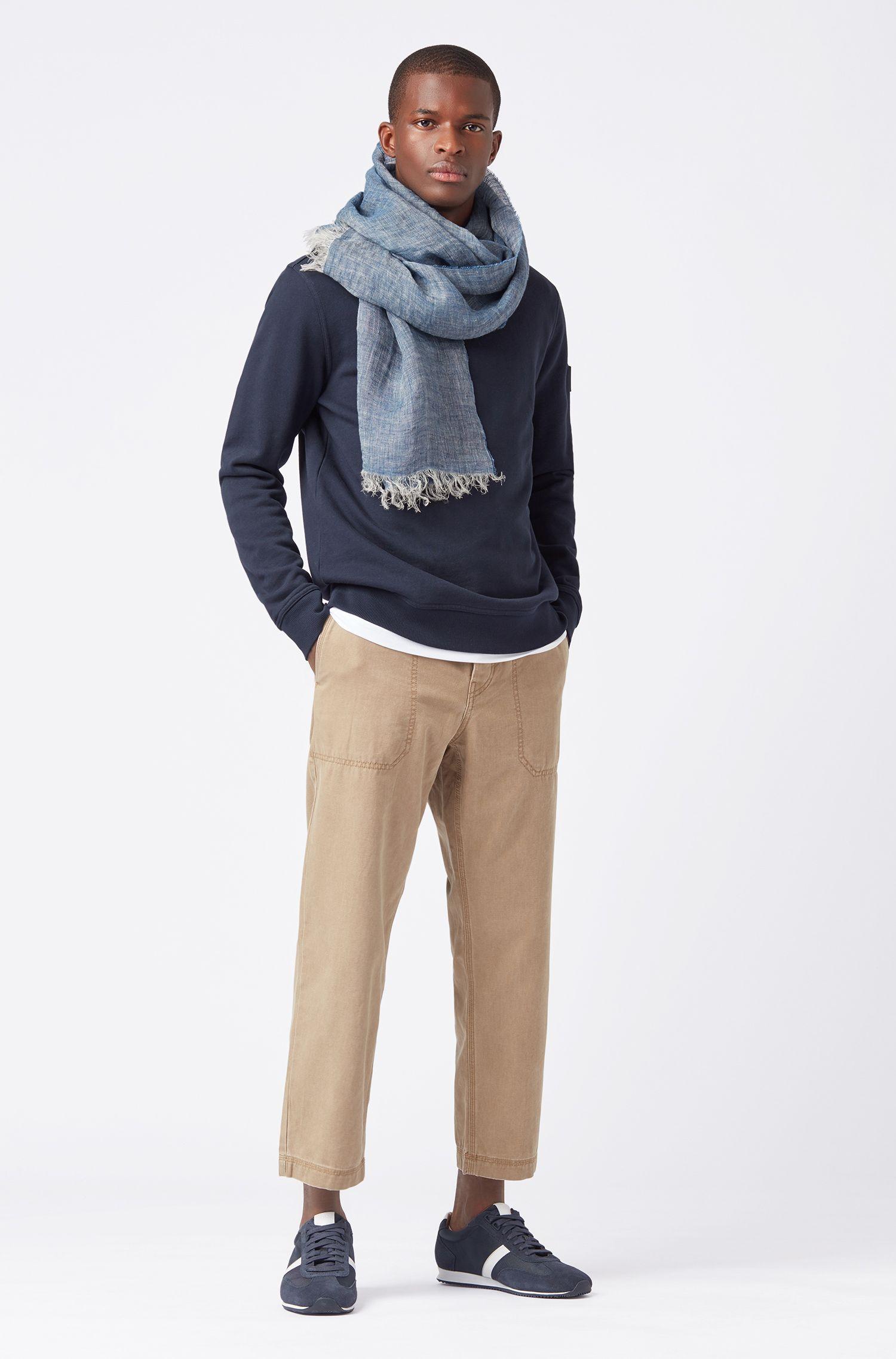Sjaal van linnen chambray met een gewassen finish, Donkerblauw