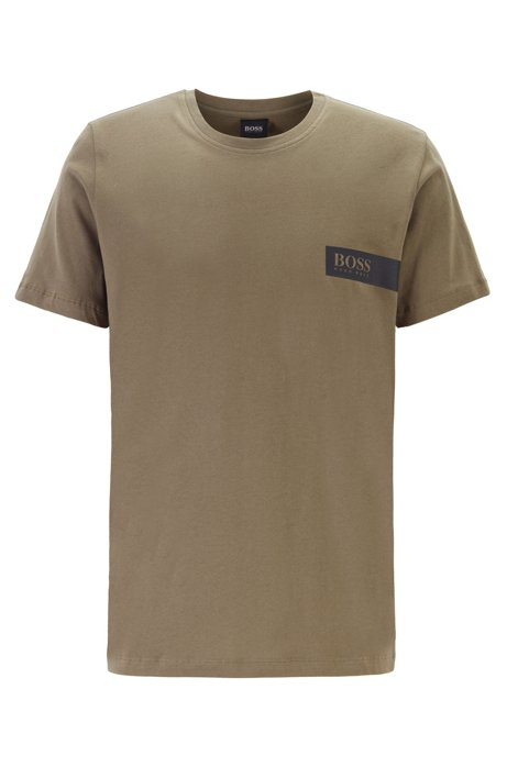 Relaxed-fit underwear T-shirt with chest logo, Dark Green