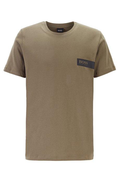 T-Shirt aus Baumwolle mit Logo auf der Brust, Dunkelgrün
