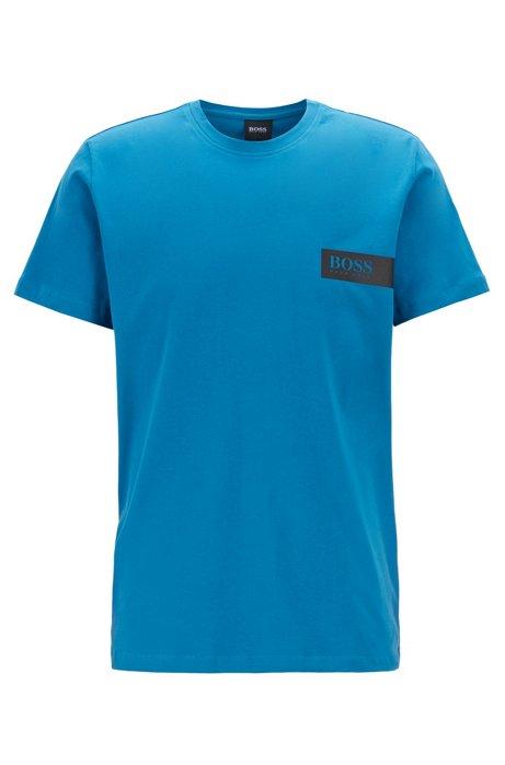 T-Shirt aus Baumwolle mit Logo auf der Brust, Türkis