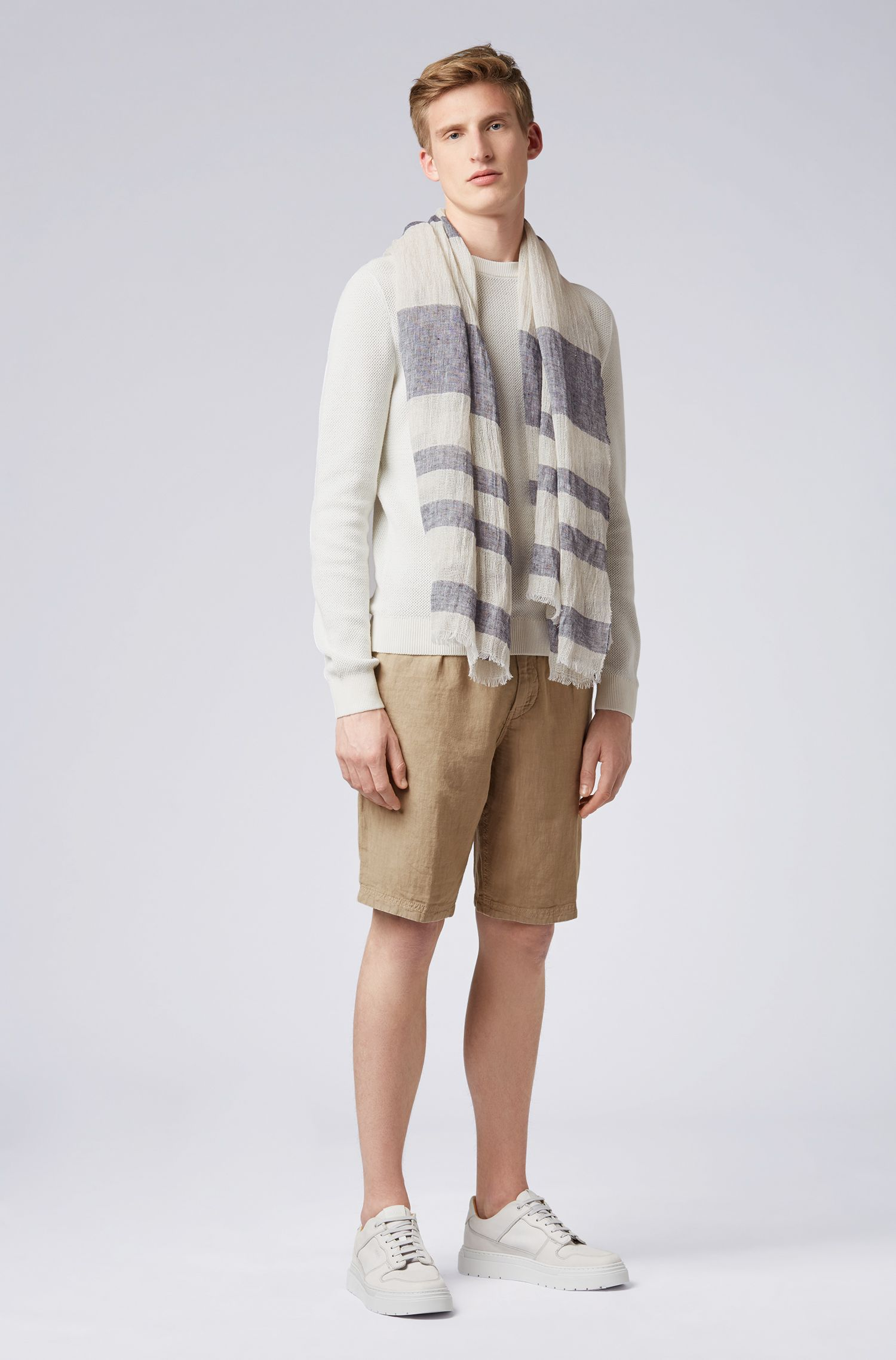 Striped linen scarf in mixed structures, Beige