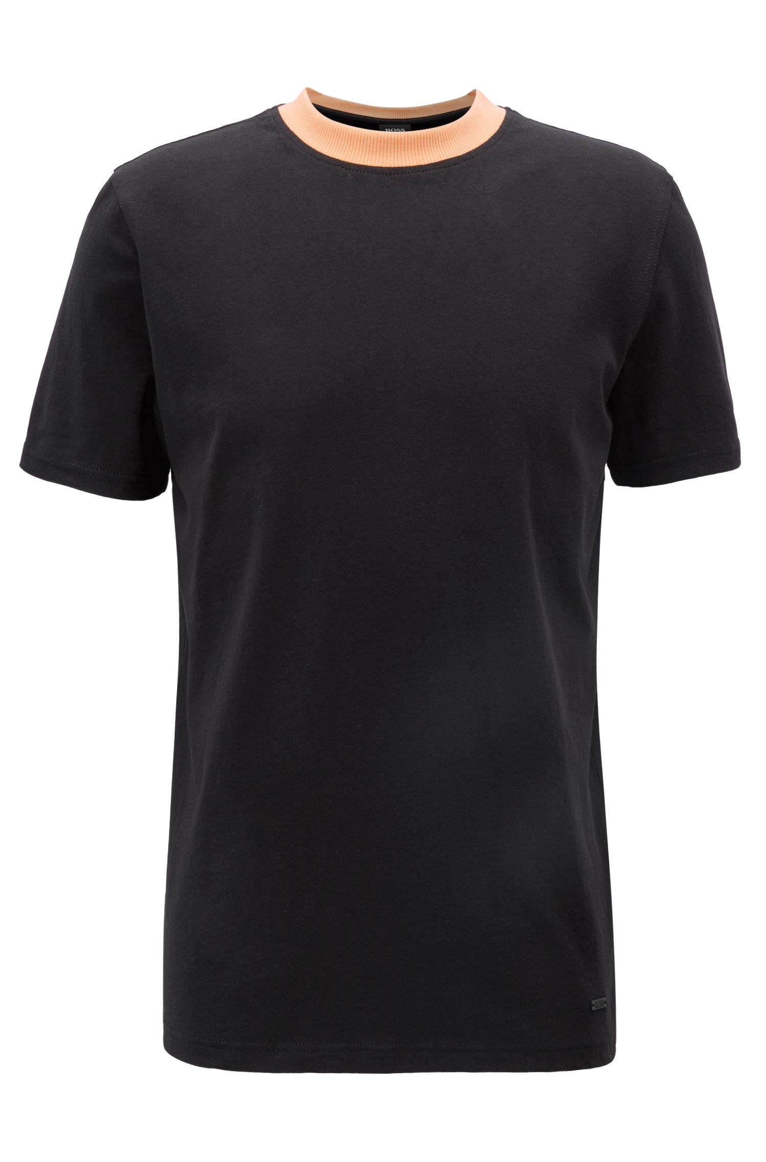 Relaxed-Fit T-Shirt mit Siebdruck auf der Rückseite, Schwarz
